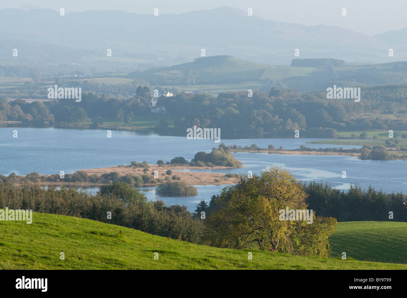 Loch Ken and Bengairn Hill with Livingstone House - Stock Image