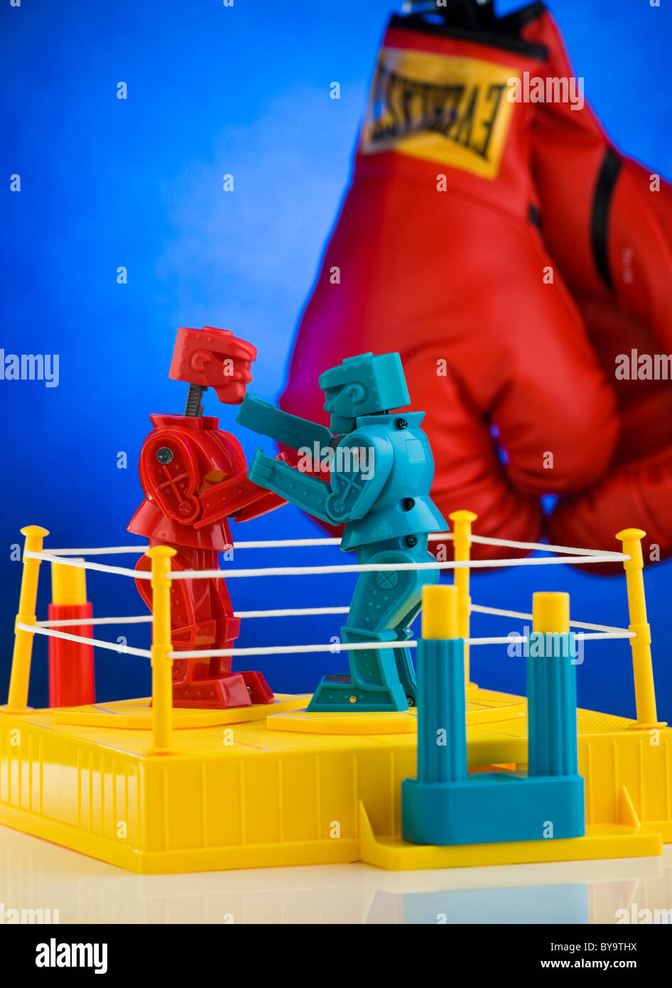An artistic view of the classic game from the 1970's 'Rock 'em Sock 'em Robots', produced by - Stock Image