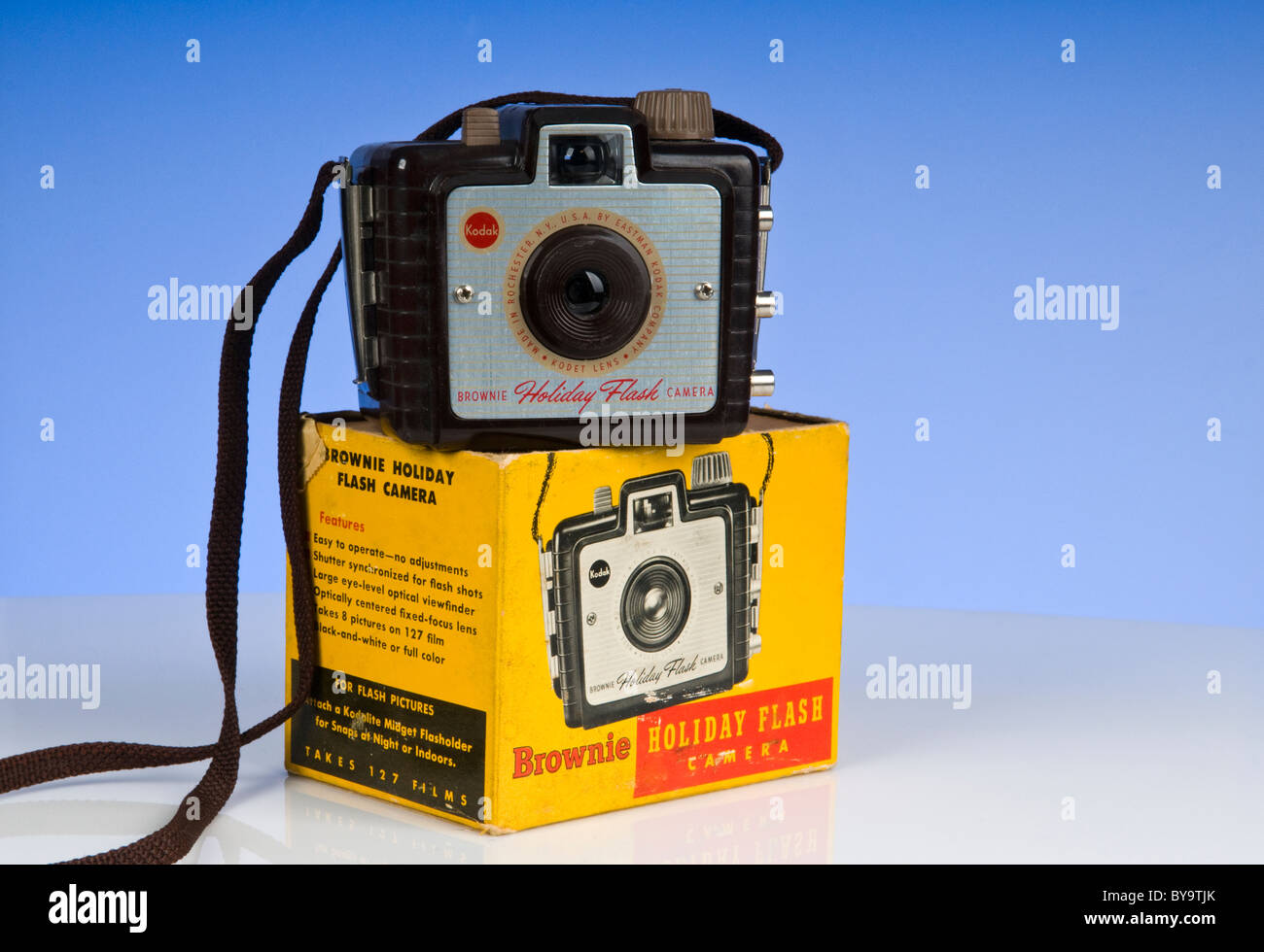 A Vintage Kodak Brownie Holiday Flash 127 film camera With box. - Stock Image