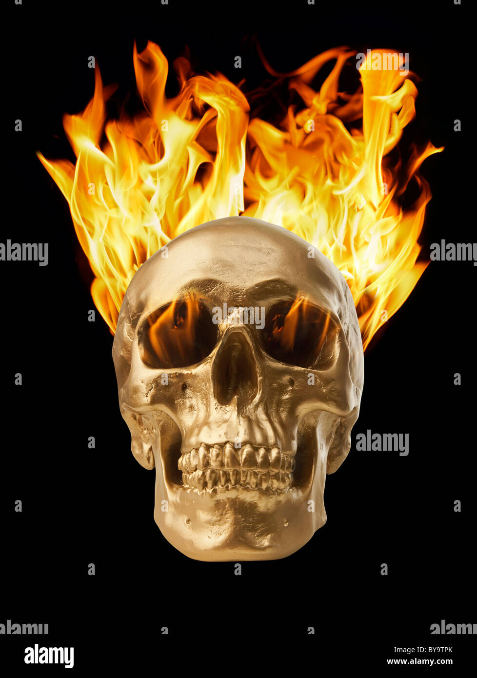 Golden skull with blazing fire Stock Photo