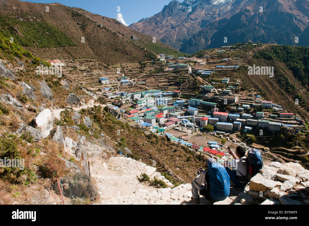 view of Namche Bazaar in the Everest Region of Nepal - Stock Image