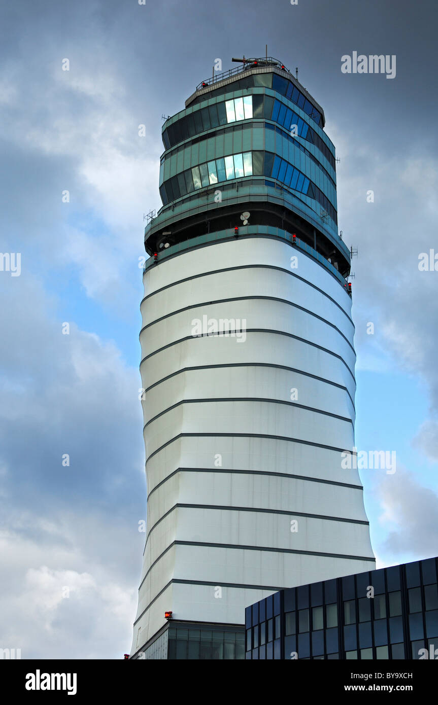 Air traffic control tower, Vienna International Airport, Vienna, Austria - Stock Image