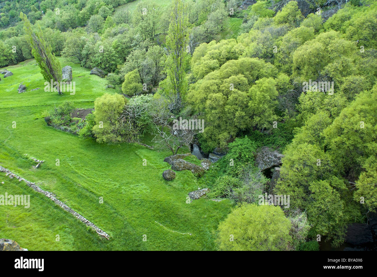 grass field from above. Grass Field From Above. Beautiful Grass France Ardeche Mirabel Village Above  A Field And Above