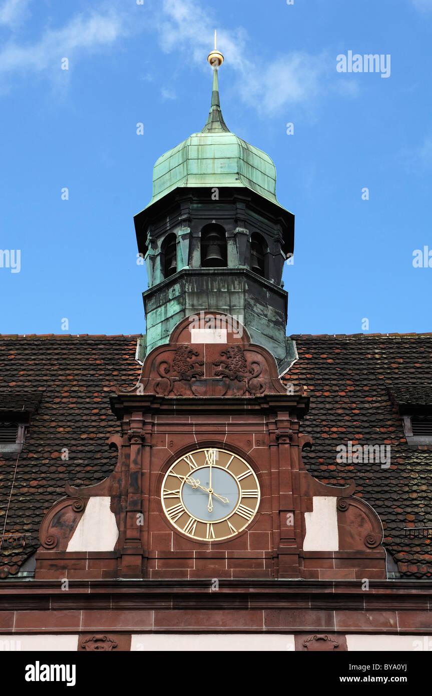Clock and bell tower of the new town hall, Rathausplatz square 4, Freiburg im Breisgau, Baden-Wuerttemberg, Germany, - Stock Image