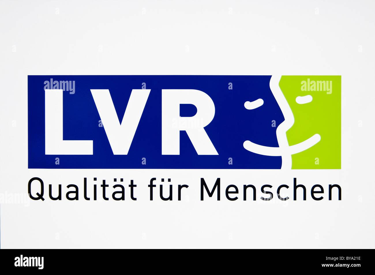 Logo LVR, Landschaftsverband Rheinland, regional association with the slogan, Qualitaet fuer Menschen - Stock Image