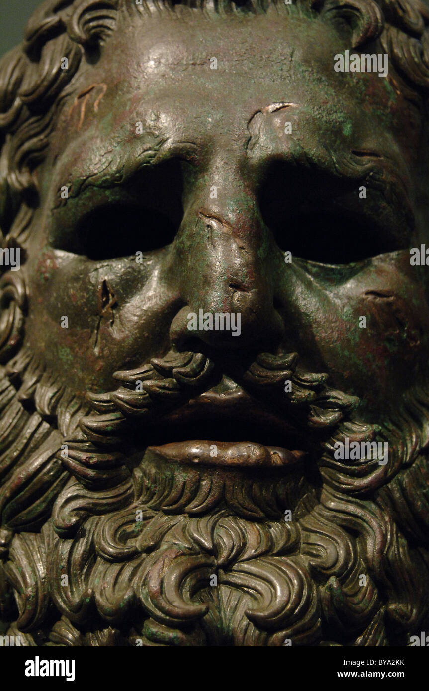 Greek Art. Hellenistic. Boxer of Quirinal or the Terme Boxer. Bronze sculpture of the Hellenistic period (1st century - Stock Image