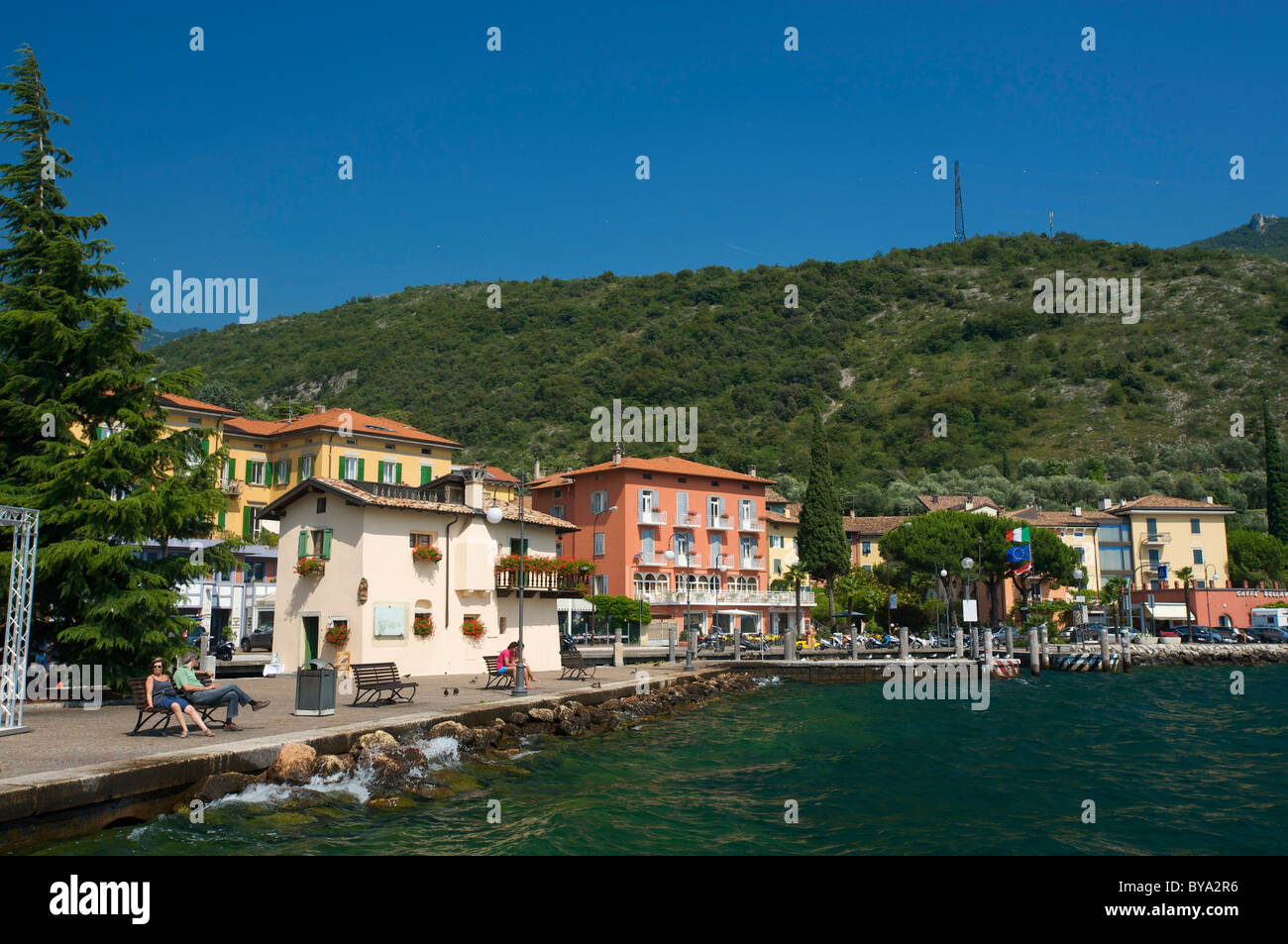 Lakeside promenade in Torbole on Lake Garda, province of Trento, Trentino, Italy, Europe Stock Photo