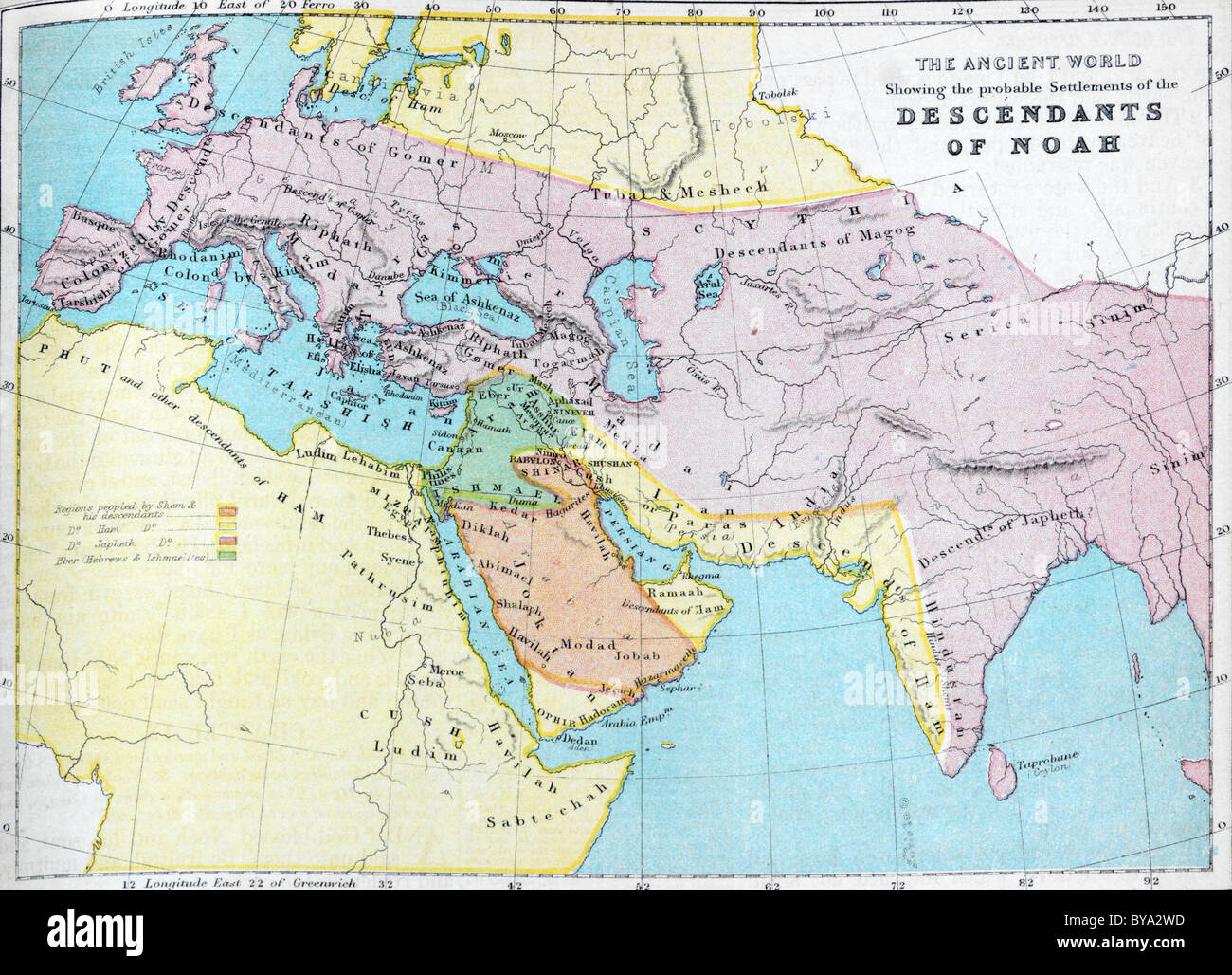Map Of The Ancient World Showing The Probable Settlements Of The