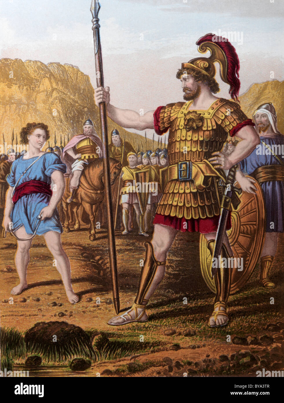 Bible Stories Illustration Of David And Goliath Stock ...