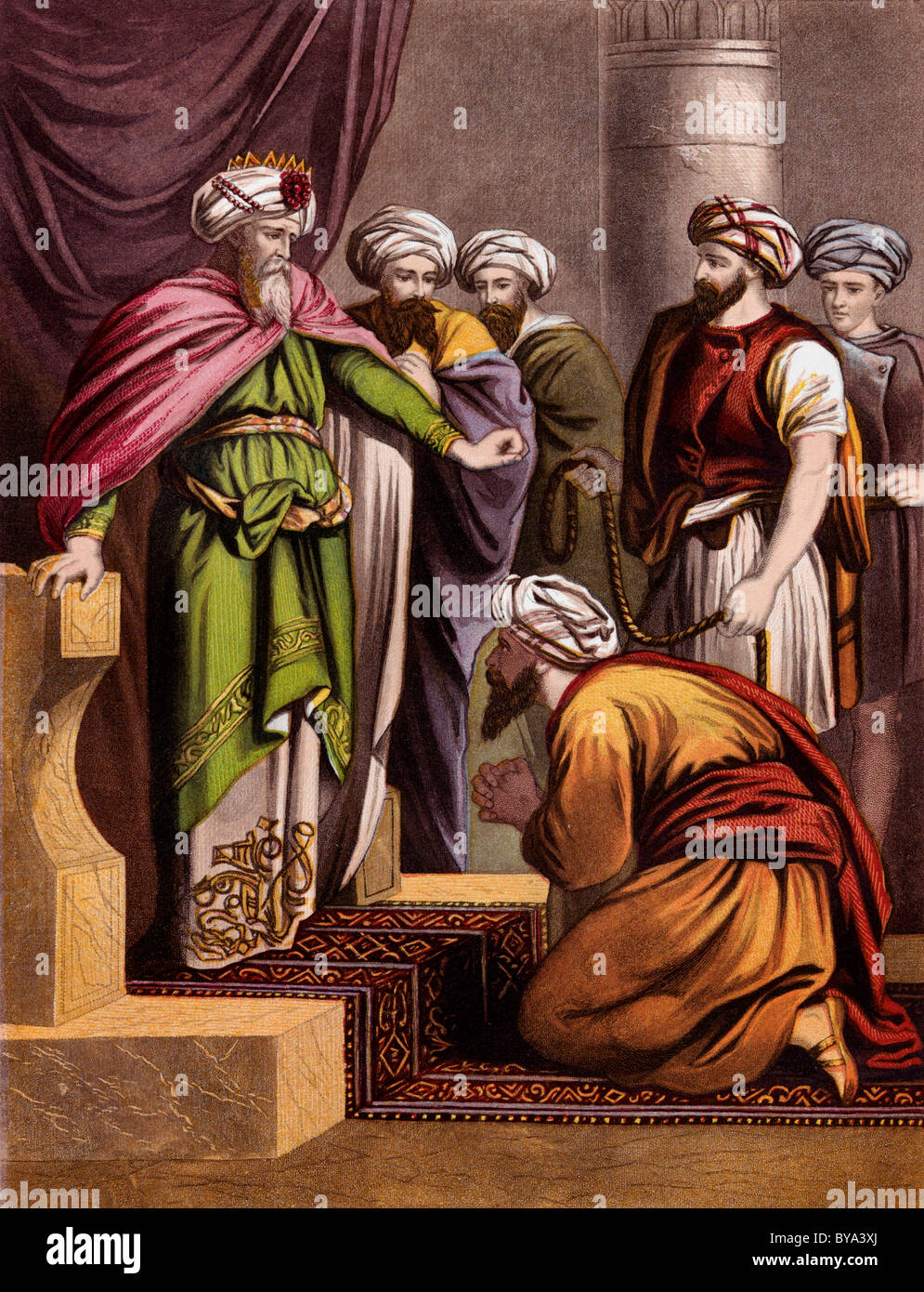 Bible Stories Illustration Of Parable Of The King And His Servants - Stock Image