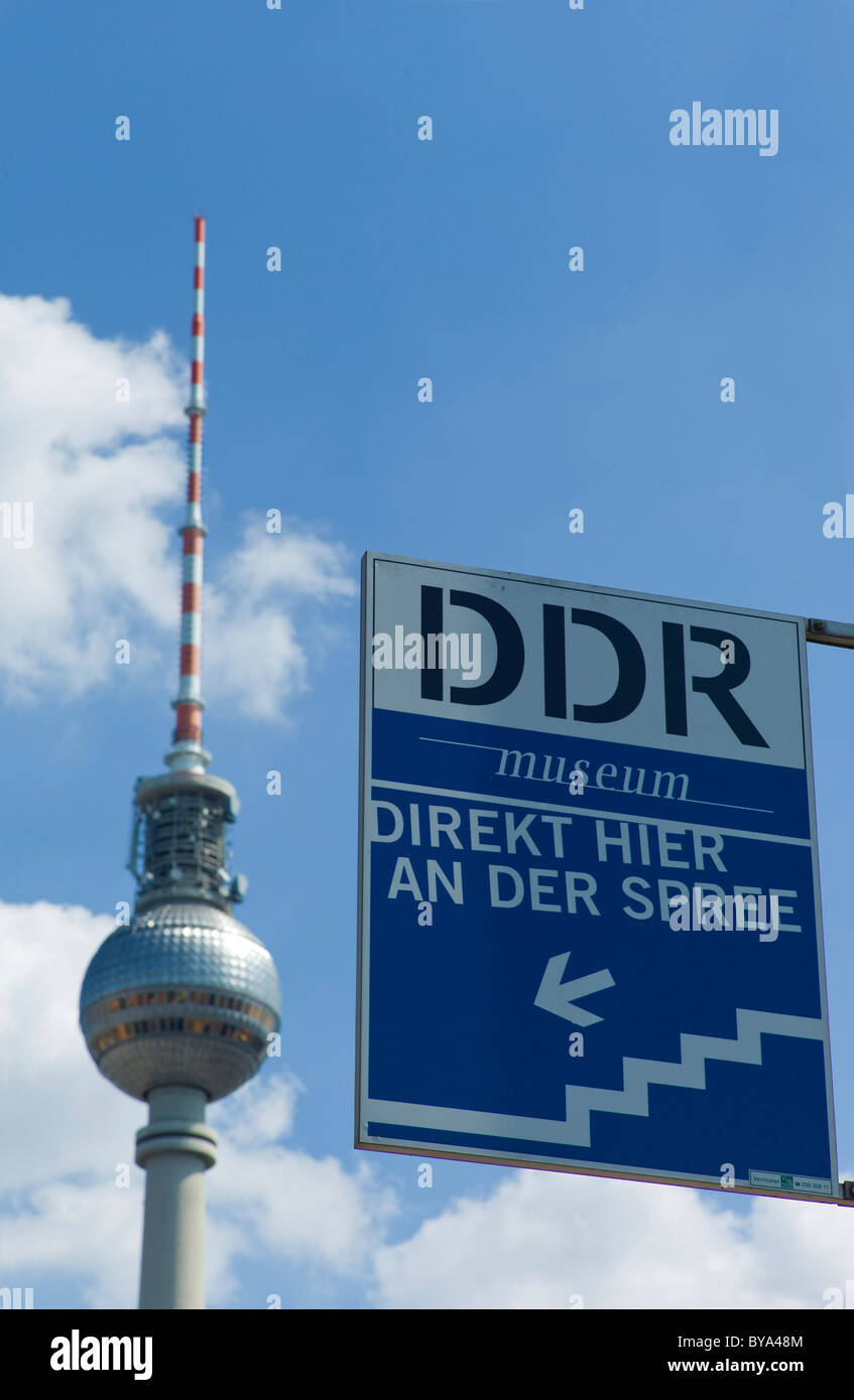 DDR Museum, museum of the German Democratic Republic, the Berlin TV Tower at back, Mitte district, Berlin, Germany, - Stock Image