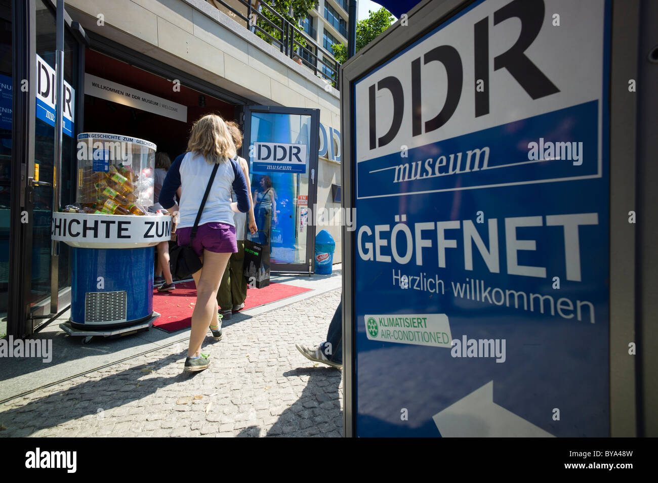 Tourists in front of the DDR Museum, museum of the German Democratic Republic, Mitte district, Berlin, Germany, - Stock Image