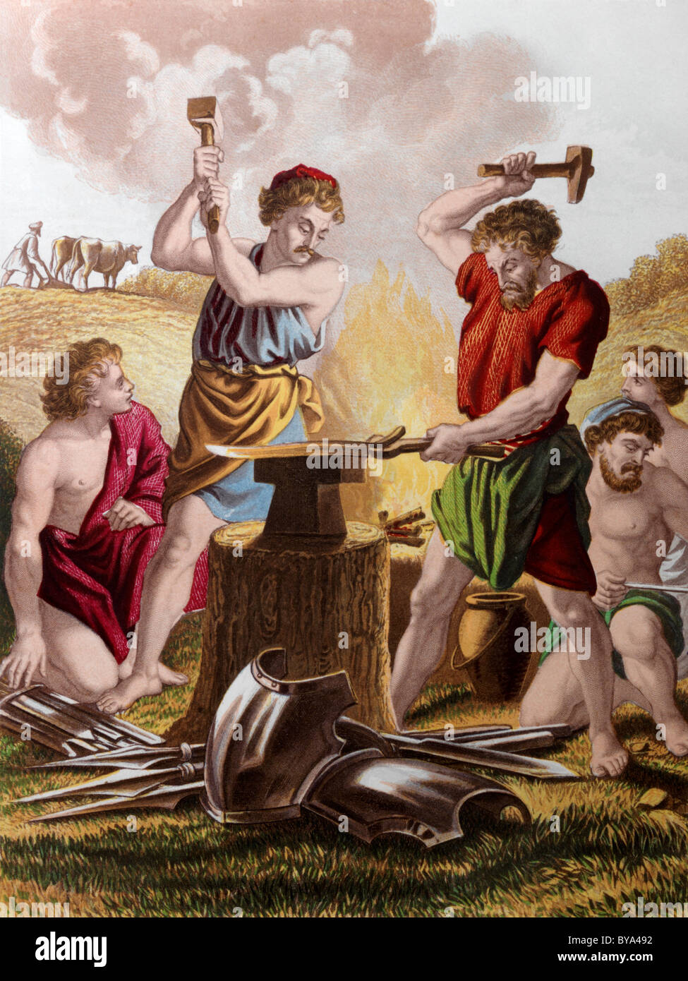 Bible Stories Illustration Of Men Beating The Swords Into Ploughshares - Stock Image