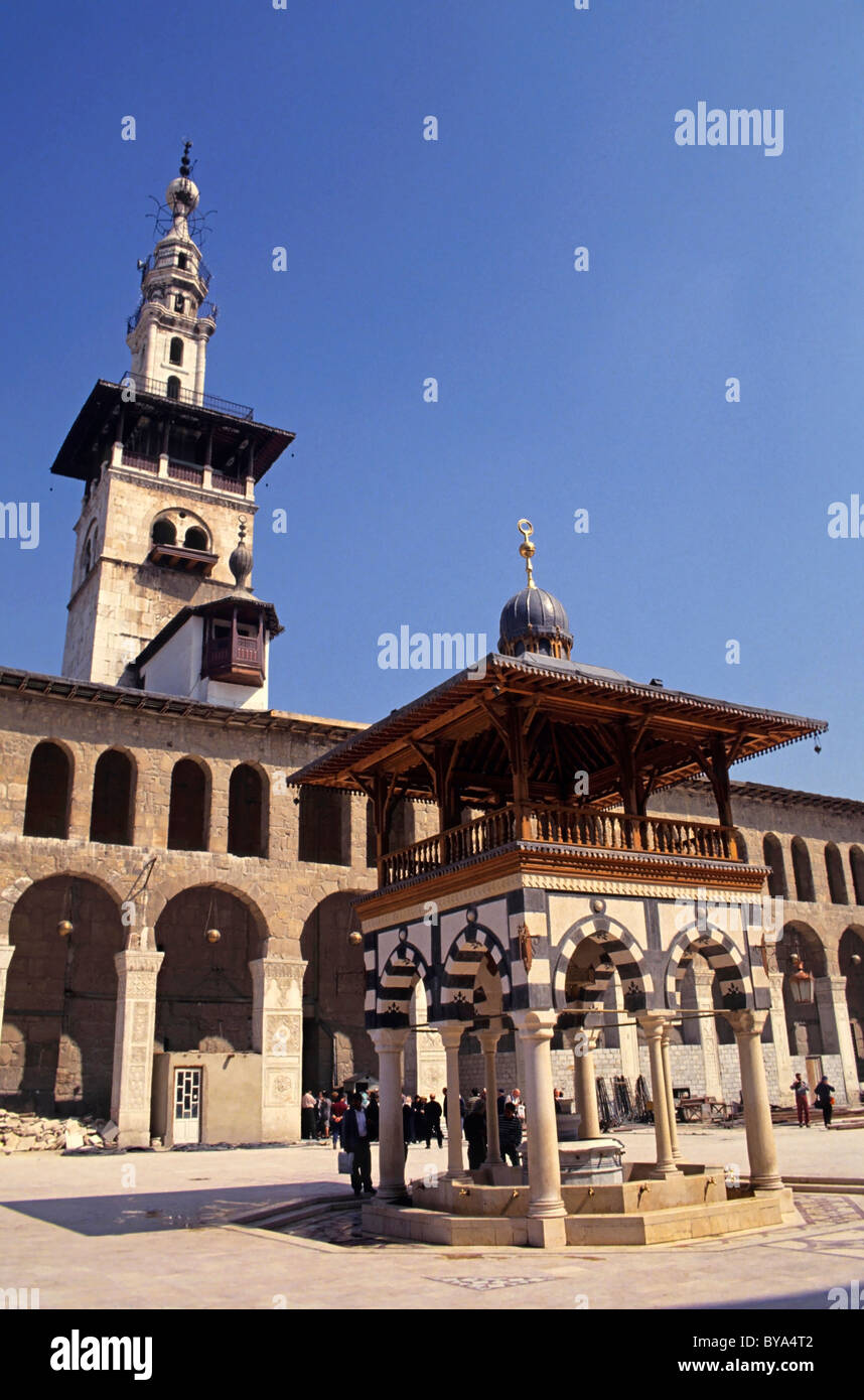 Syria, Damascus - The Umayyad Mosque Courtyard And The Minaret Stock Photo