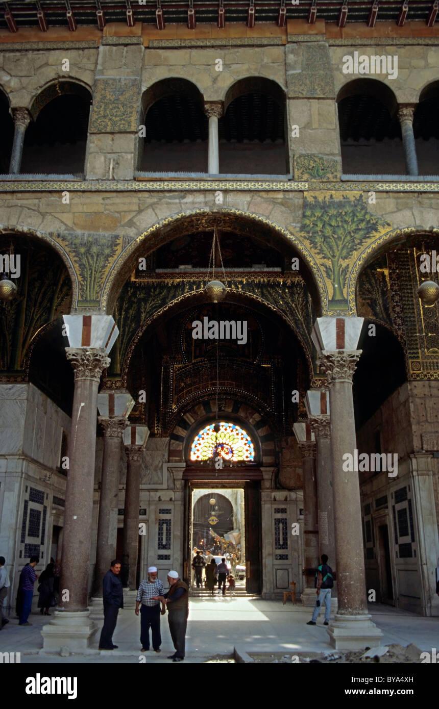 Entrance to the Umayyad Mosque in Damascus, Syria. - Stock Image