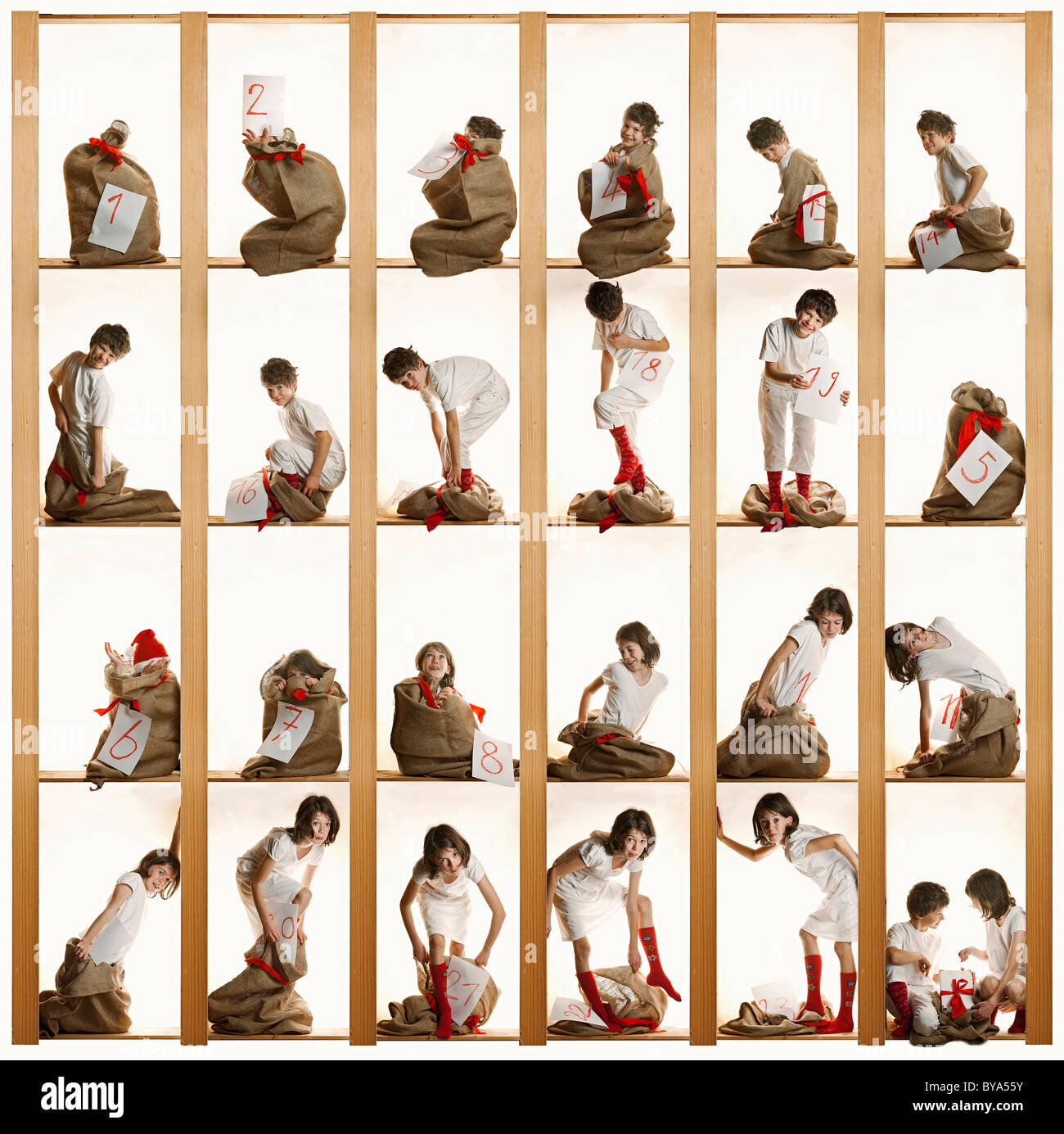 Advent calendar with children - Stock Image