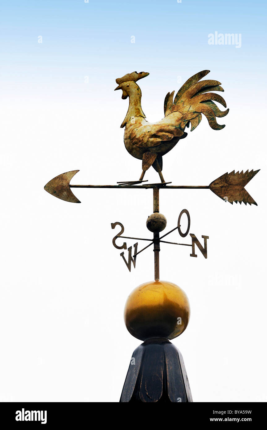 Weather vane with letters indicating the points of the compass, Bavaria, Germany, Europe - Stock Image