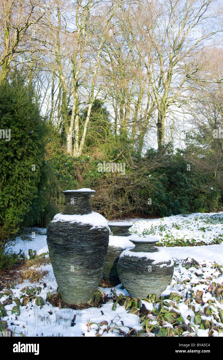 crafted slate urns in Threave Gardens Castle Douglas NTS - Stock Image