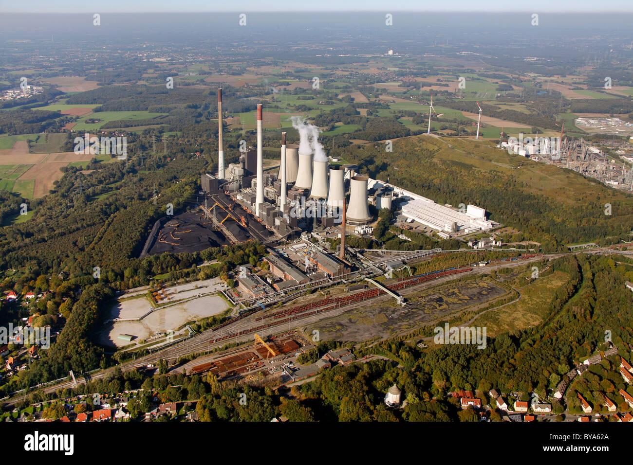 Aerial view, E.ON Kraftwerk Scholven power plant, Gelsenkirchen, Ruhrgebiet region, North Rhine-Westphalia, Germany, Stock Photo