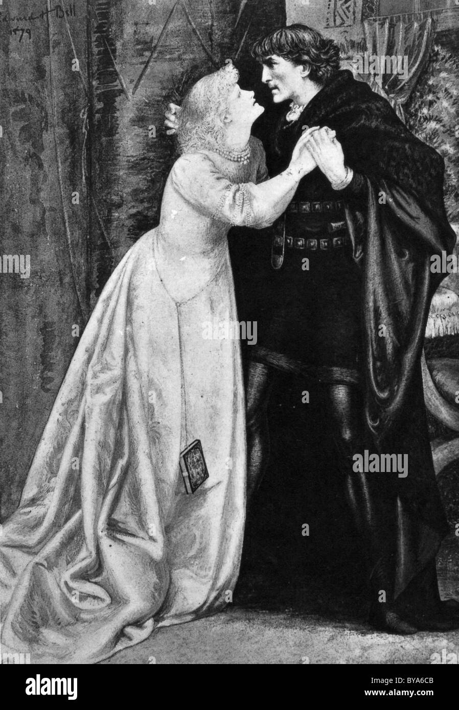 HAMLET played by Henry Irving with Ellen Terry as Ophelia in the 1878 production at the London Lyceum - Stock Image