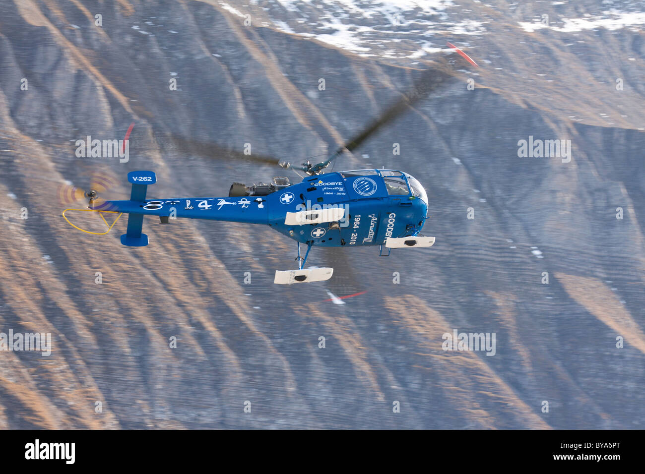 Farewell flight of the Swiss military helicopter Alouette III with special paint, mountain-air show of the Swiss - Stock Image