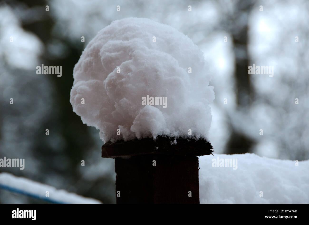 Snow on Garden fencepost, January 2010 - Stock Image