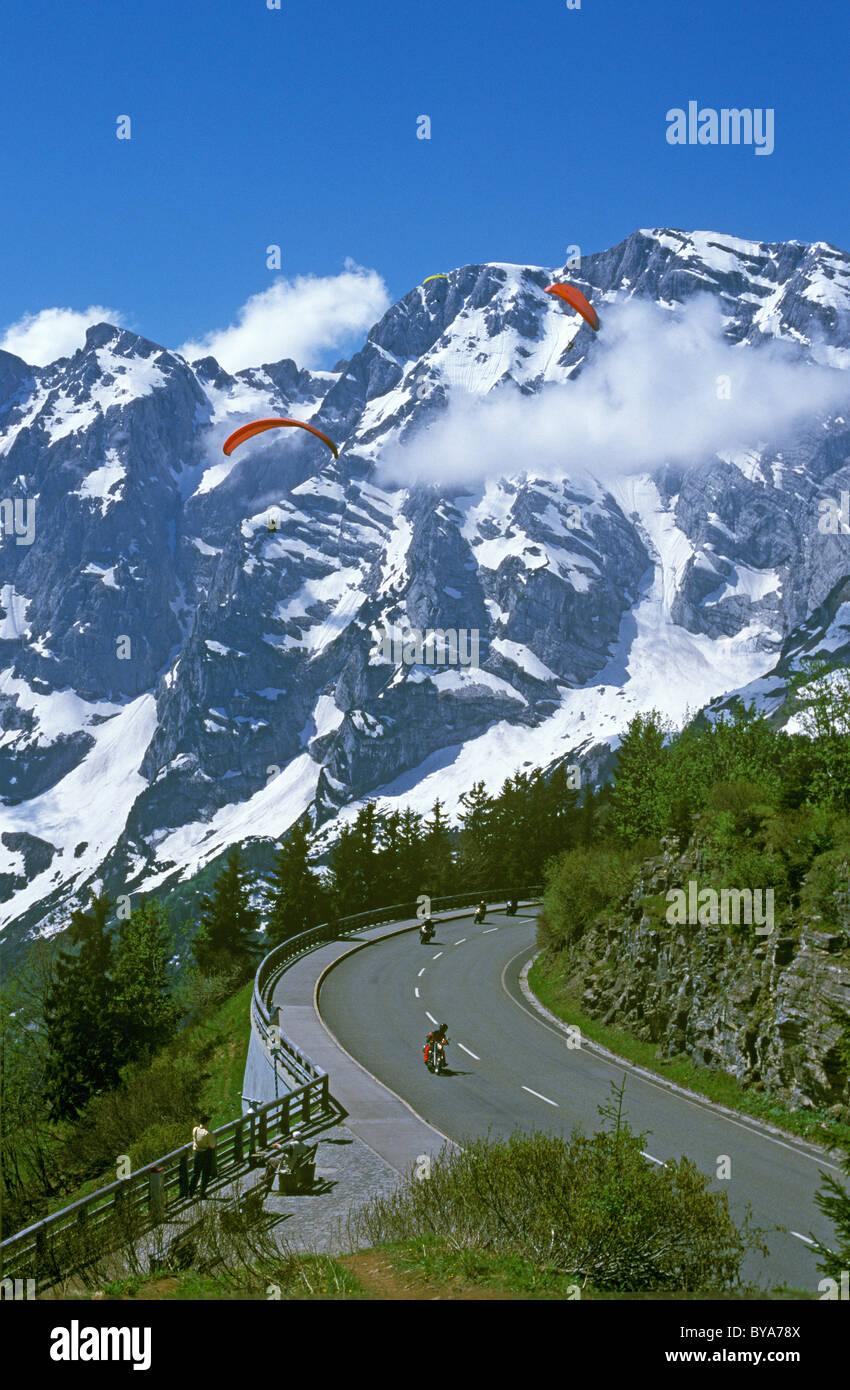 Rossfeldstrasse track, Deutsche Alpenstrasse, German Alpine Road, Hoher Goell mountain at the back Stock Photo