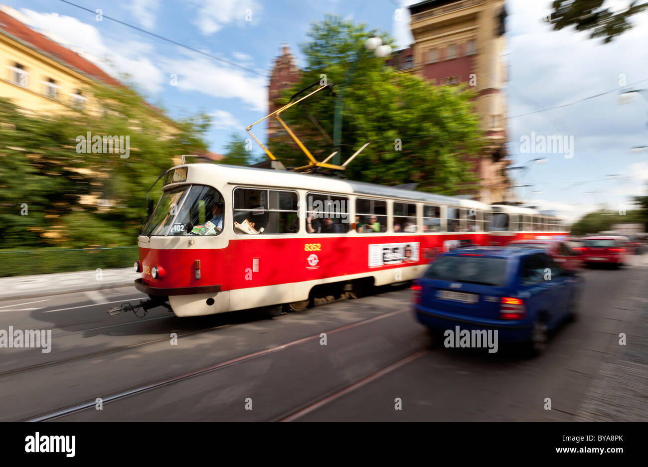Tram in the historic town of Prague, Czech Republic, Europe - Stock Image