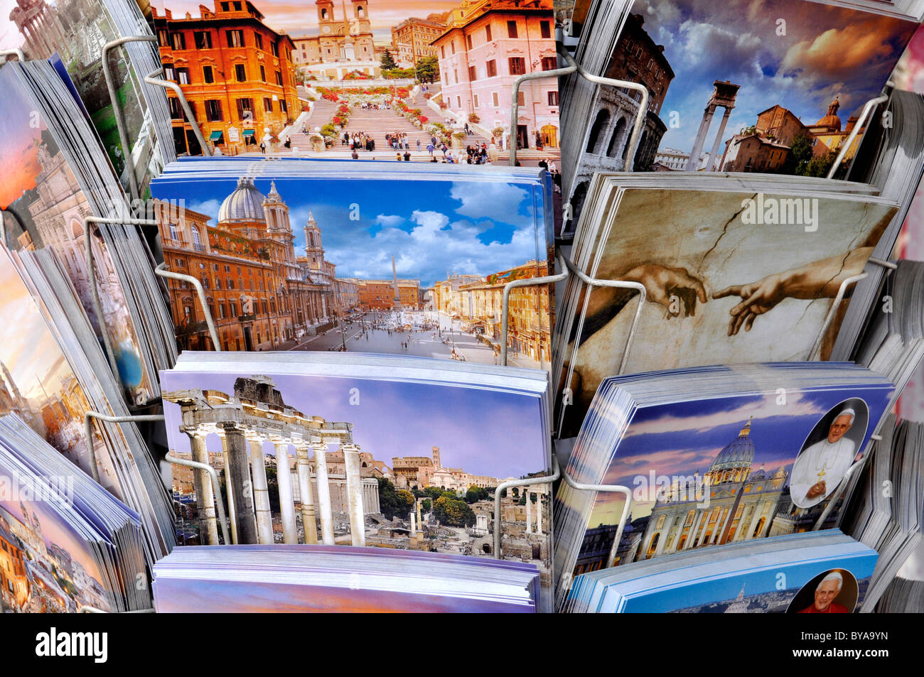 Postcards with Roman motifs, Rome, Lazio, Italy, Europe Stock Photo