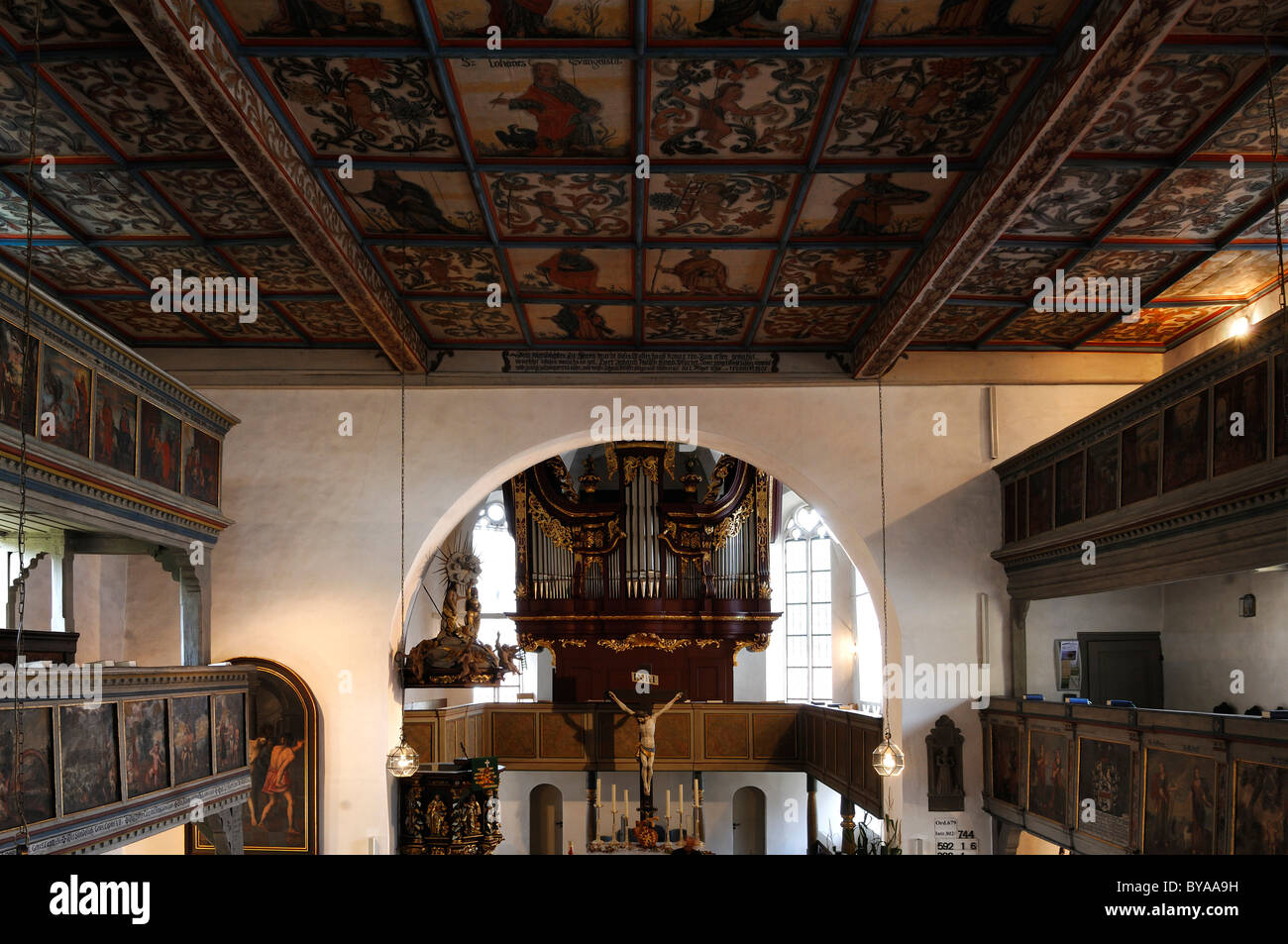 Interior With Painted Coffered Ceiling, Organ And Altar Of  St. Veit Und St. Michaels Kirche Church, 1634 1682, Pfarrberg