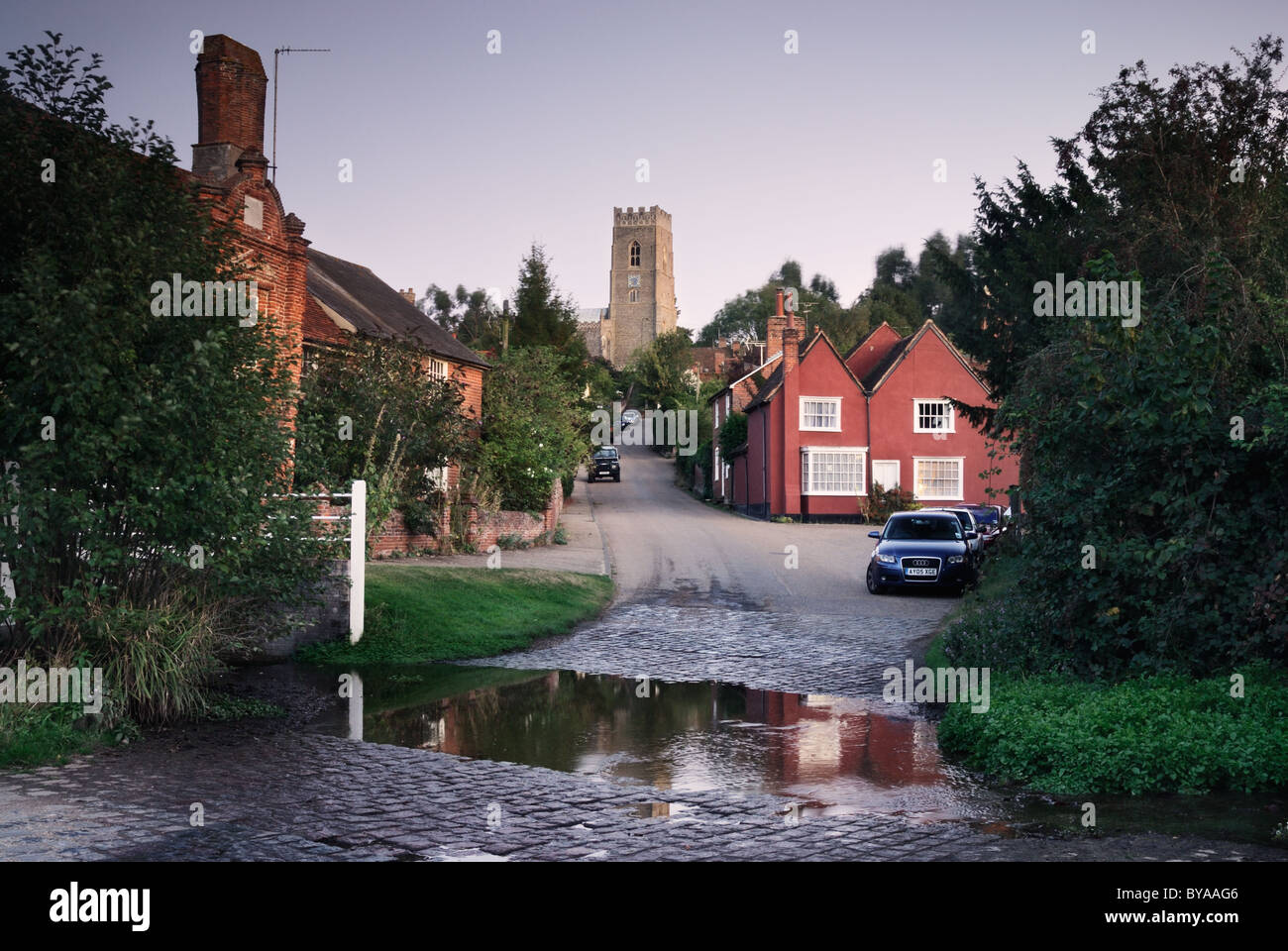 Kersey Village, Ford Across A Stream In The Foreground, St Mary Church In  The Distance , Suffolk, England, UK