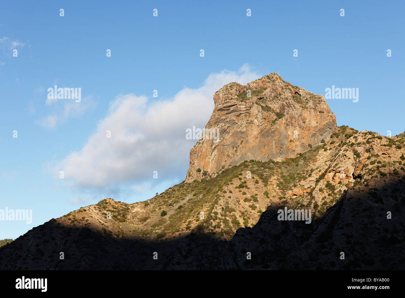 Roque Cano Mountain in Vallehermoso, La Gomera, Canary Islands, Spain, Europe - Stock Image