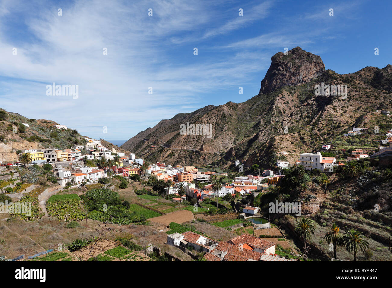 Vallehermoso with Roque Cano Mountain, La Gomera, Canary Islands, Spain, Europe - Stock Image