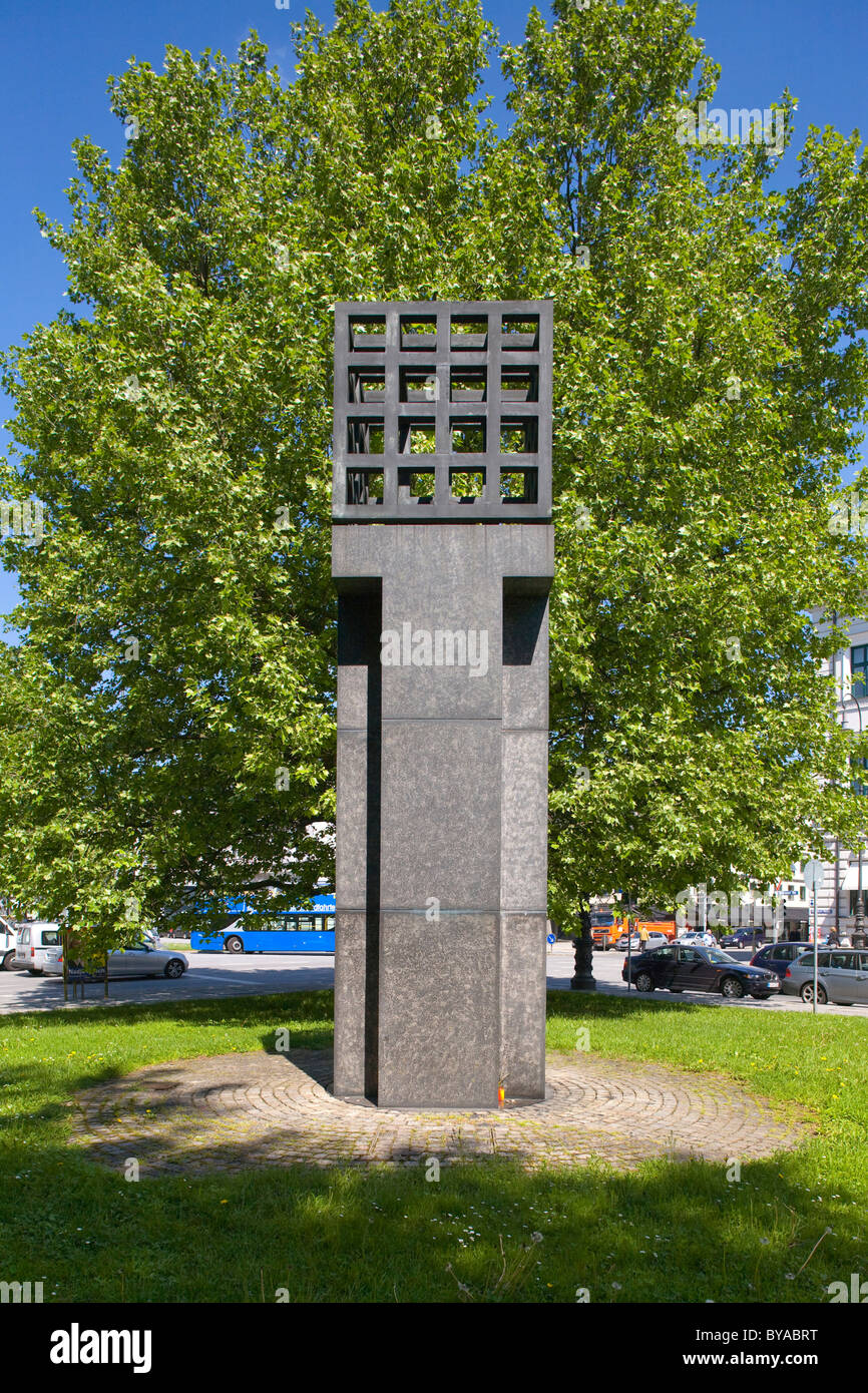 Munich Memorial for the Victims of Nazi-Dictature, by Andrew Sobeck, 1985, on Platz der Opfer des Nationalsozialismus, - Stock Image