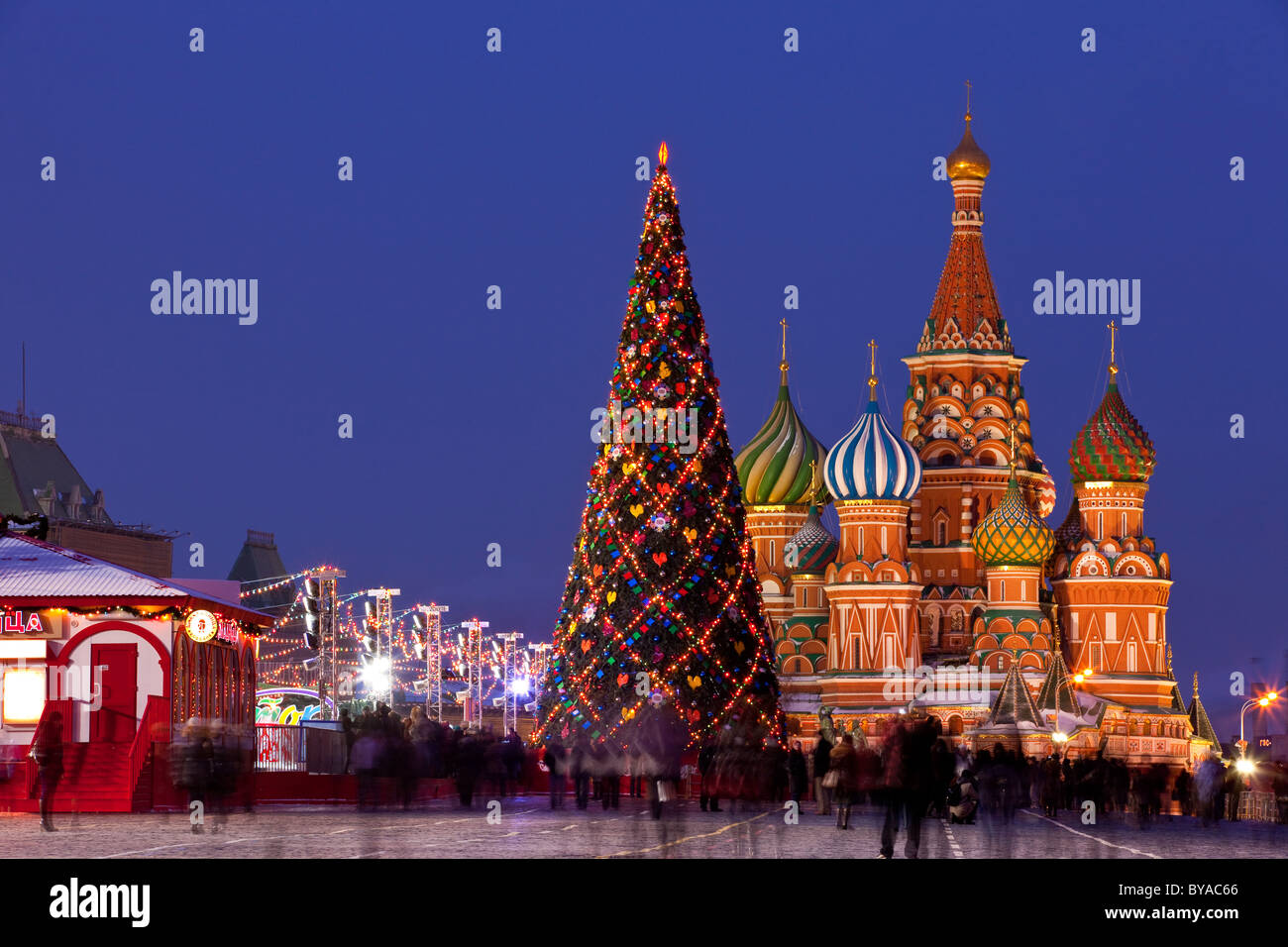 Red Square, Saint Basil's Cathedral at Moscow during Christmas - Stock Image