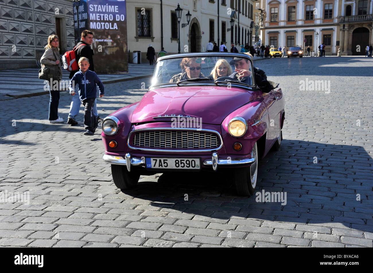 Skoda Felicia classic car of 1960, Hradcany Square, Prague Castle, Prague, Bohemia, Czech Republic, Europe - Stock Image