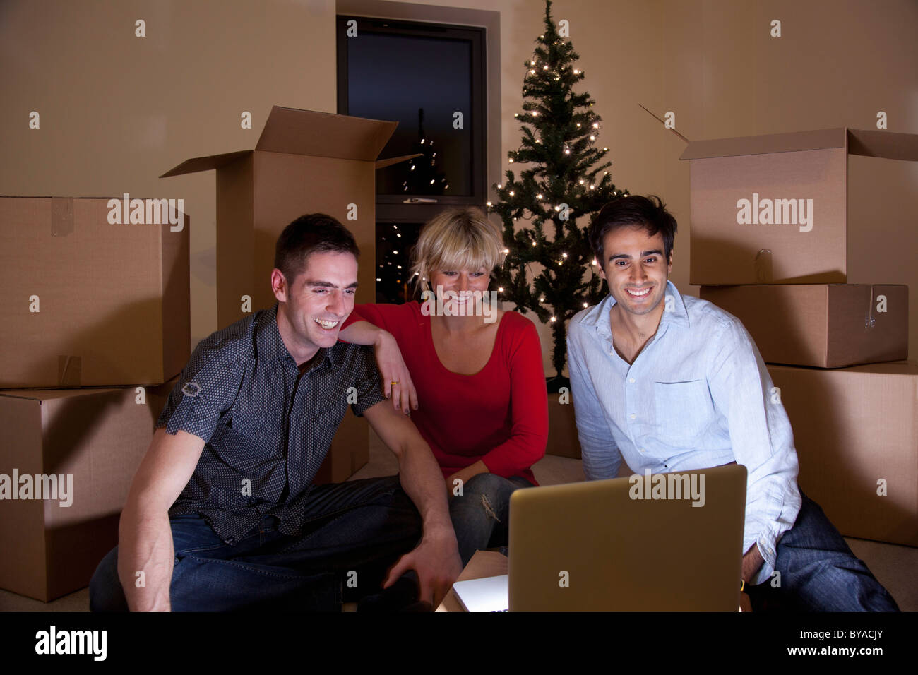 First night in apartment at christmas - Stock Image