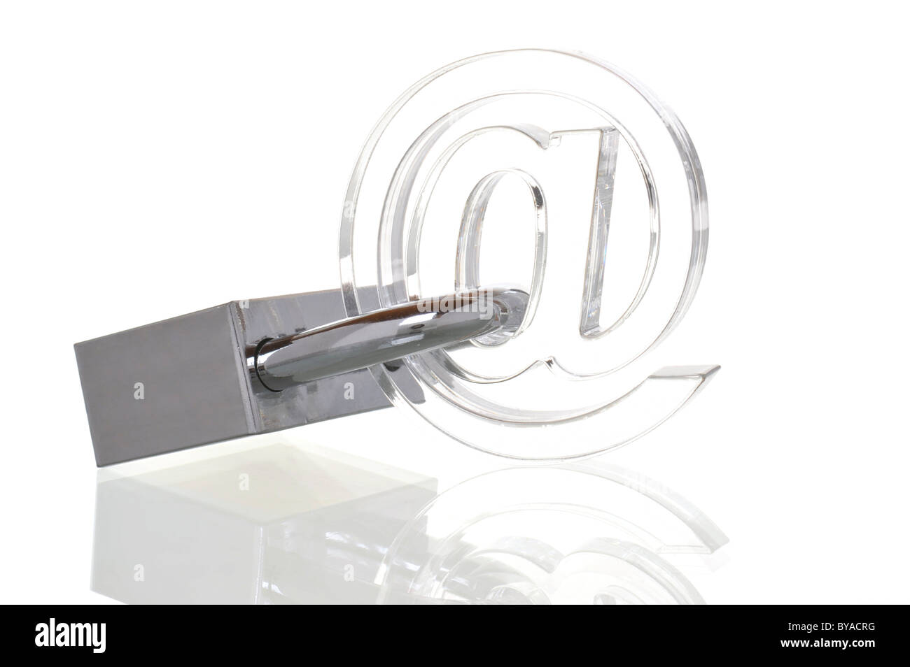 Transparent at sign with padlock, symbolic image for internet security - Stock Image