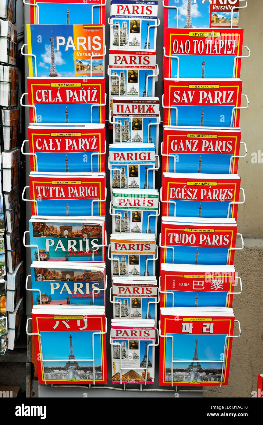 Guide books in various languages, Paris, France, Europe - Stock Image
