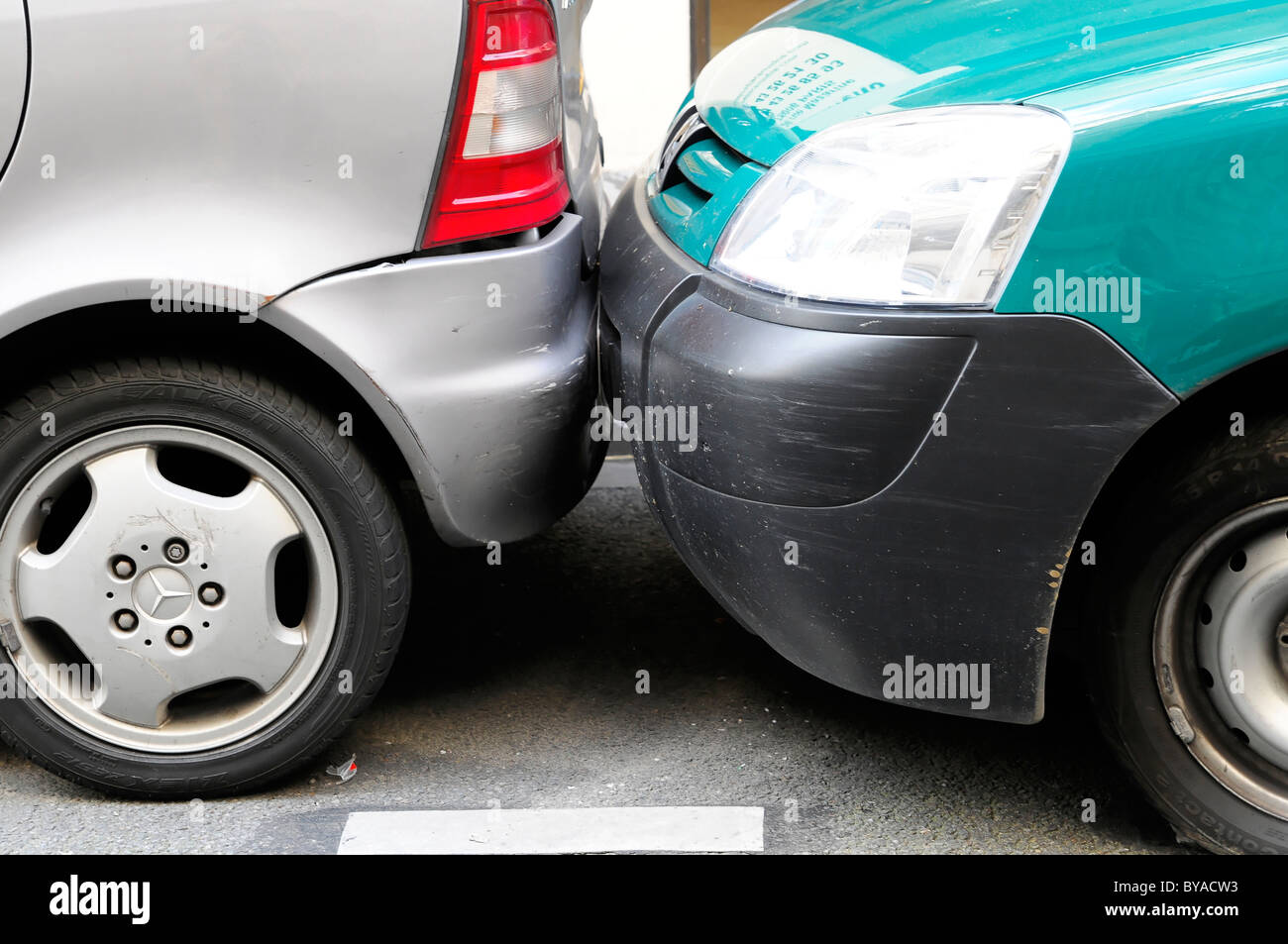 Accurate, difficult parking, Paris, France, Europe - Stock Image
