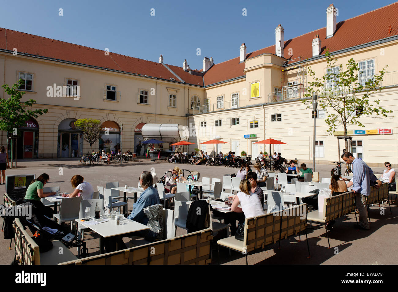 Inner courtyard at the MuseumsQuartier, Zoom Museum for Children, 7th District, Vienna, Austria, Europe - Stock Image