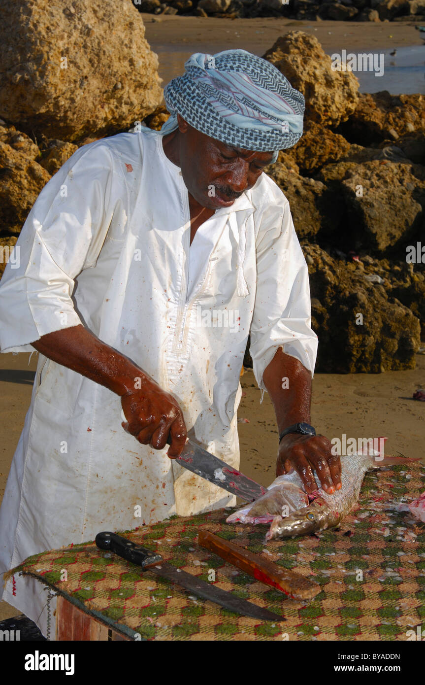 Dark-skinned fish merchant filleting fresh fish on a stall in the open, Sur, Sultanate of Oman, Middle East - Stock Image
