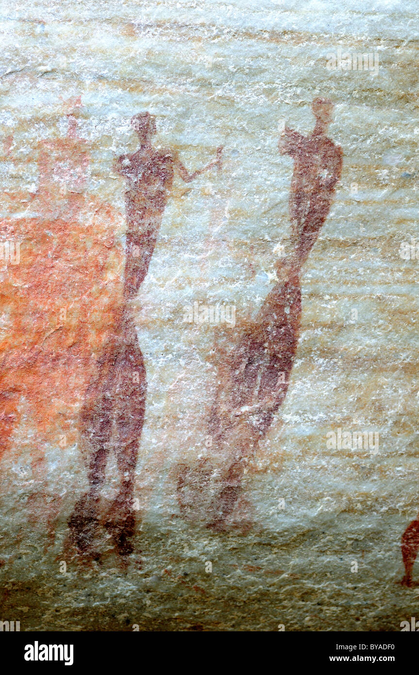 Representation of two elongated figures, rock painting of the San ethnic group, Sevilla Rock Art Trail, Bushmans - Stock Image