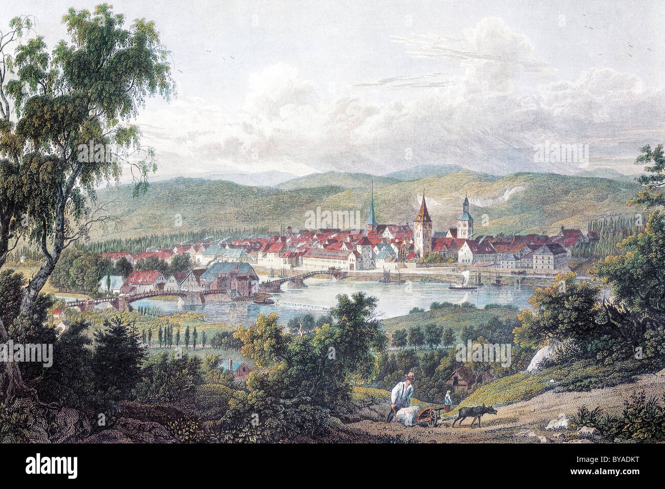 View of Hamelin, about 1830, historic cityscape, steel engraving created in the 19th century, Lower Saxony, Germany, - Stock Image