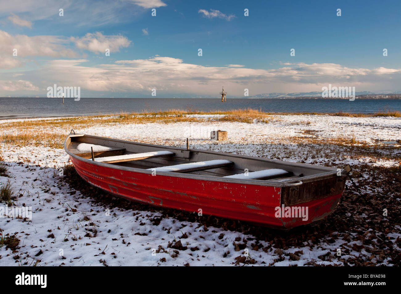 Life boat on the wintry Hoernle, a tongue of land in Konstanz, Lake Constance, Baden-Wuerttemberg, Germany, Europe Stock Photo