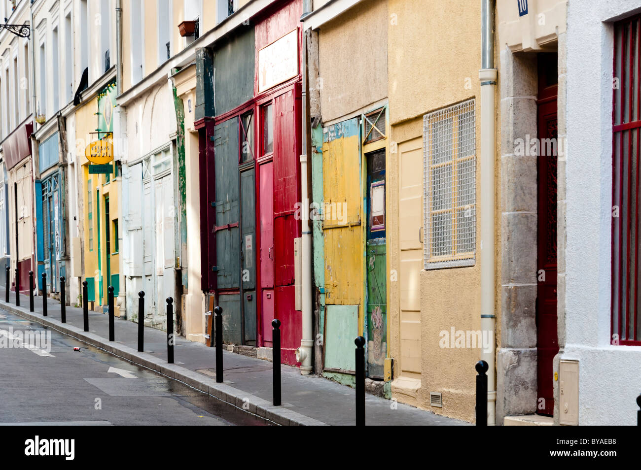 Closed Doors on a Sunday afternoon in the Rue Saint Martre, Paris - Stock Image