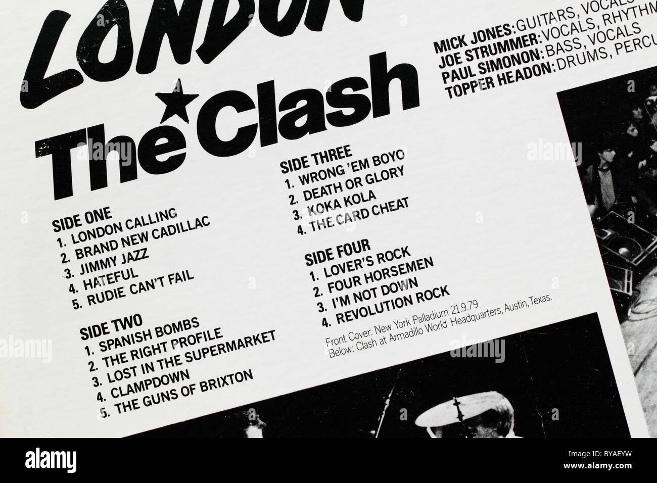 Tracks and band members listed on the back cover of an LP record by the Clash: London Calling. - Stock Image