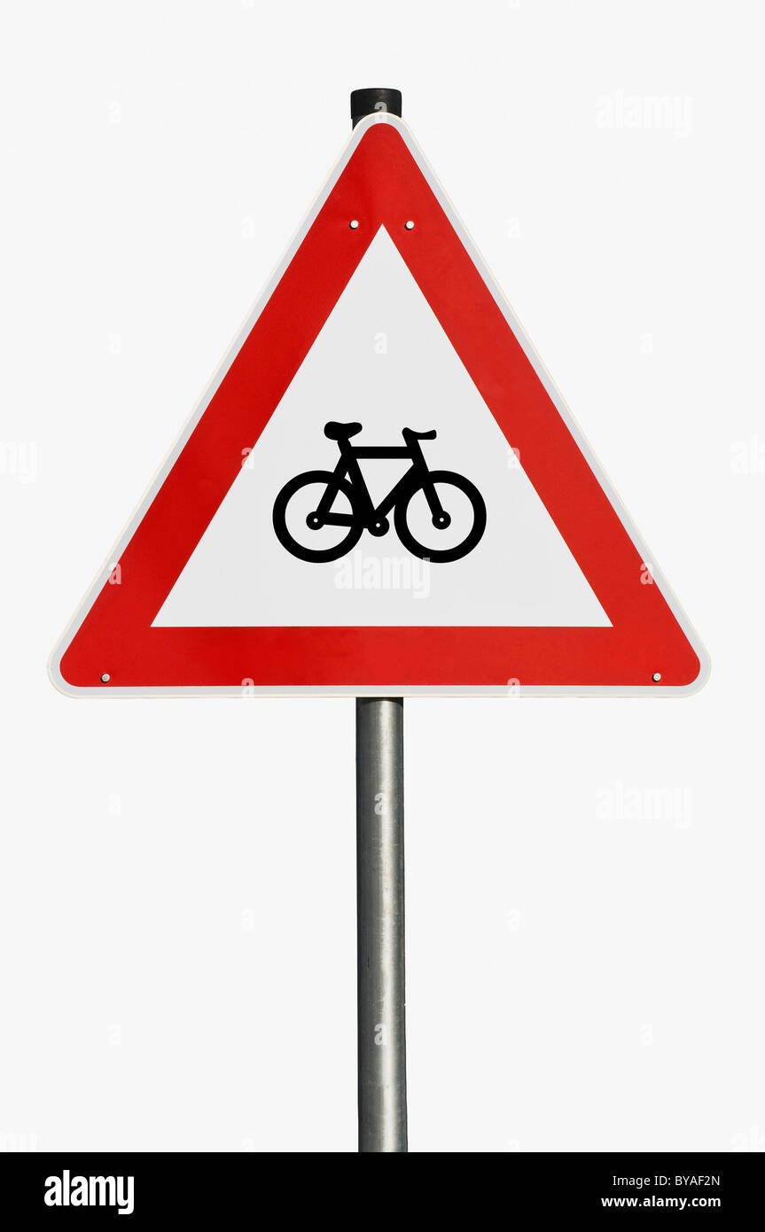 Traffic sign, warning sign, bicycle route - Stock Image