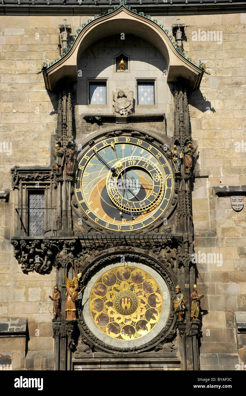 Prague Astronomical Clock on the clock tower of the Old Town City Hall, Old Town Square, historic district, Prague, - Stock Image
