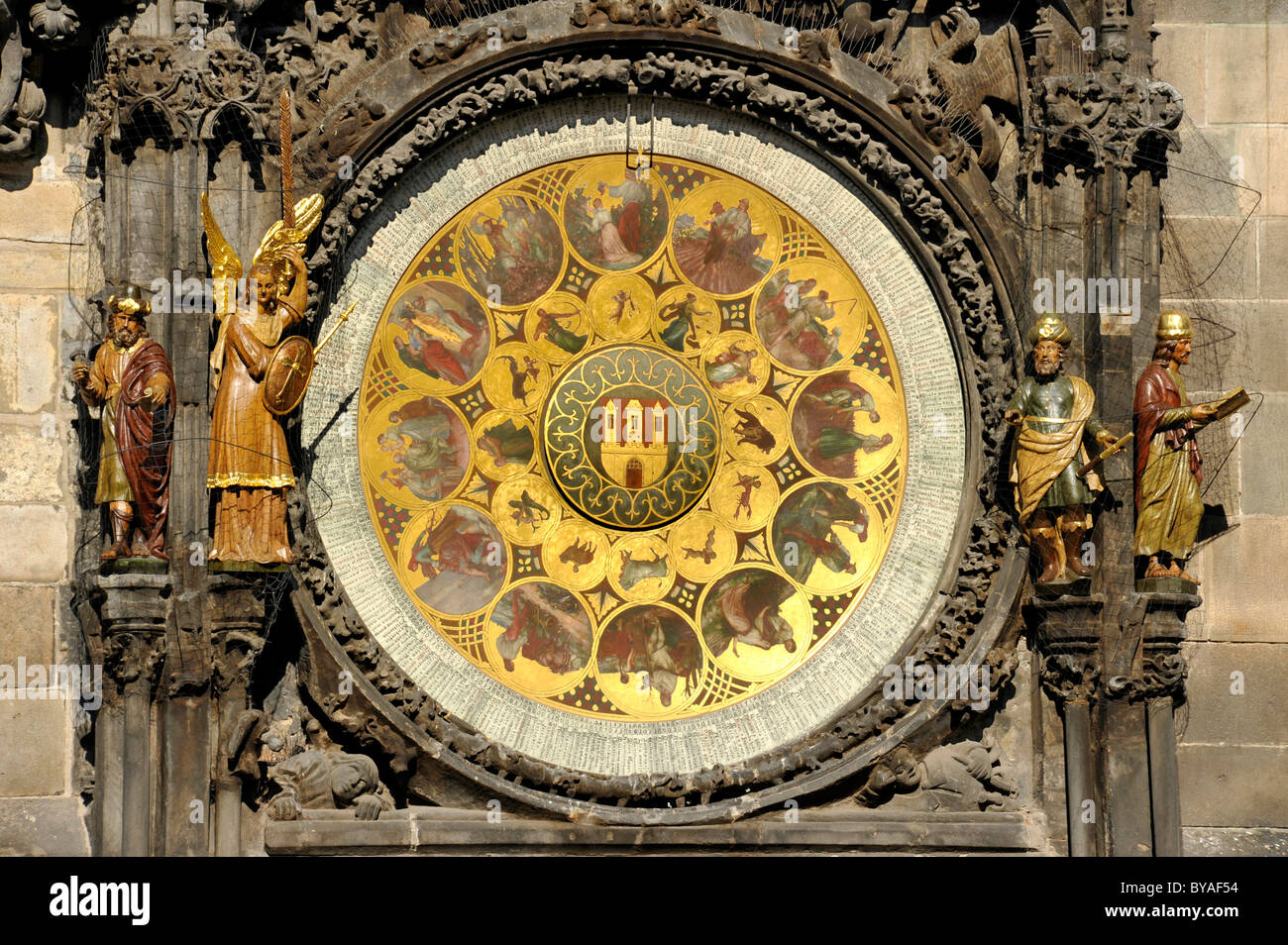 Calendar dial of the Prague Astronomical Clock on the clock tower of the Old Town City Hall, Old Town Square, historic - Stock Image